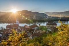 Dürnstein zum Sonnenuntergang in der Wachau.